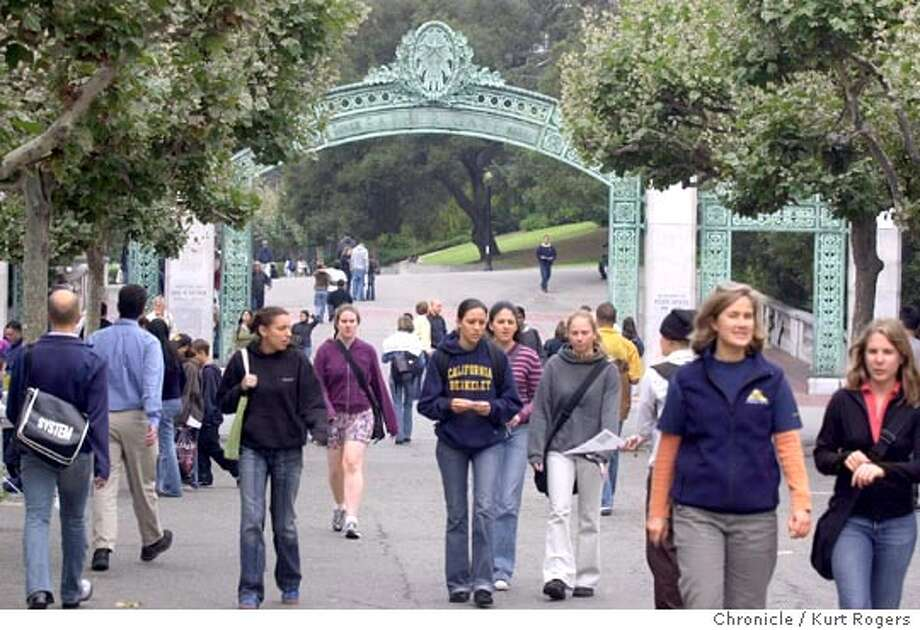 On the campus of UC California at Berkeley students walk under the Sather Gate.Enrollment is up for women at the university.Photo By Kurt Rogers Photo: Kurt Rogers