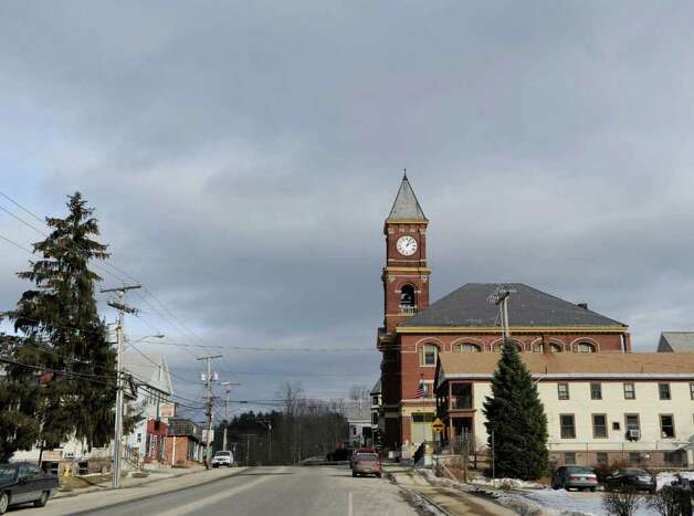Hinsdale Town Hall, at right with clock tower, in New Hampshire, Wednesday, Jan. 25, 2012. The body of murder victim Mary Harrison of Ashuelot was found in the neighboring town of Hinsdale. Harrison was a Greenwich native. Photo: Bob Luckey / Greenwich Time