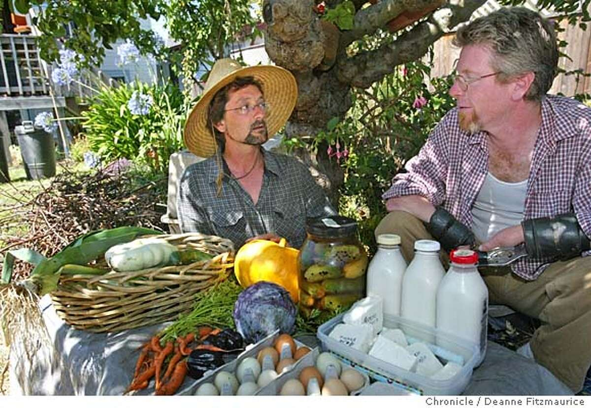 eblfarm_002_df Mateo Rutherford (in hat) and Jim Montgomery have a small backyard farm in Berkeley. They are displaying the goods they get from their farm such as goats milk and cheese, eggs and produce. They have goats, chickens, vegetables, etc. Deanne Fitzmaurice / The Chronicle