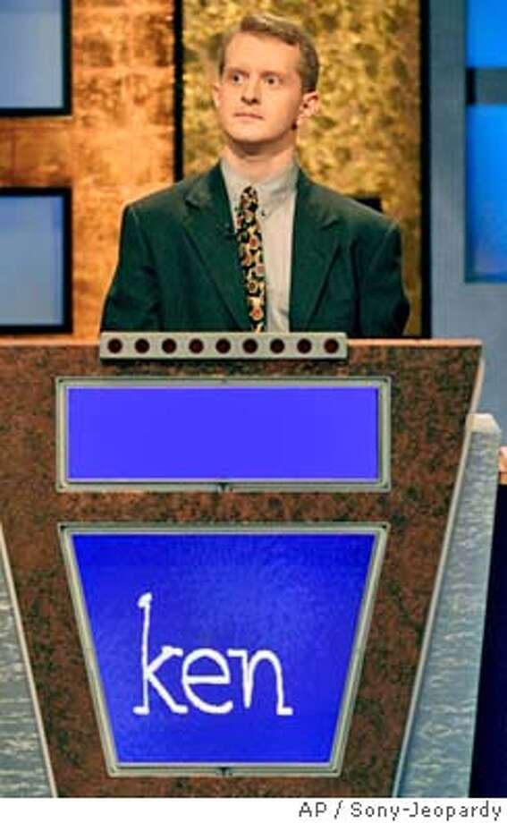 """* ADVANCE FOR MONDAY, JULY 26 **FILE**Ken Jennings, of Salt Lake City, Utah, appears on the set of the syndicated TV show """"Jeopardy"""" in this undated publicity photo. Through Thursday, July 22, Jennings had won 37 straight Jeopardy games and $1,246,660. since his first appearance aired June, 2, 2004. (AP Photo/Sony-Jeopardy) HFR 07-26-04. ADVANCE FOR MONDAY, JULY 26."""