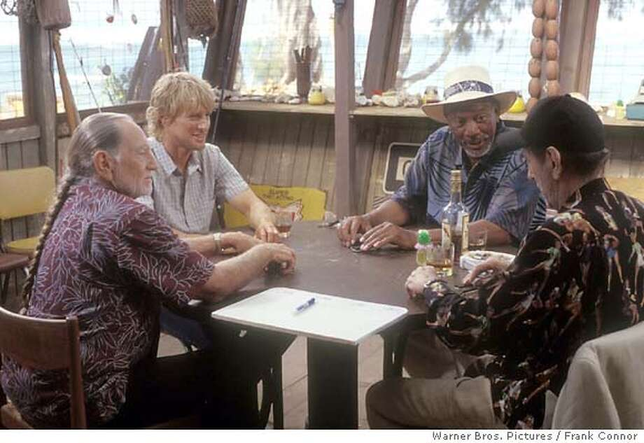 """for preview04; (L-r) WILLIE NELSON, OWEN WILSON, MORGAN FREEMAN and HARRY DEAN STANTON in """"The Big Bounce,"""" distributed by Warner Bros. Pictures / Frank Connor. PHOTOGRAPHS TO BE USED SOLELY FOR ADVERTISING, PROMOTION, PUBLICITY OR REVIEWS OF THIS SPECIFIC MOTION PICTURE AND TO REMAIN THE PROPERTY OF THE STUDIO. NOT FOR SALE OR REDISTRIBUTION"""