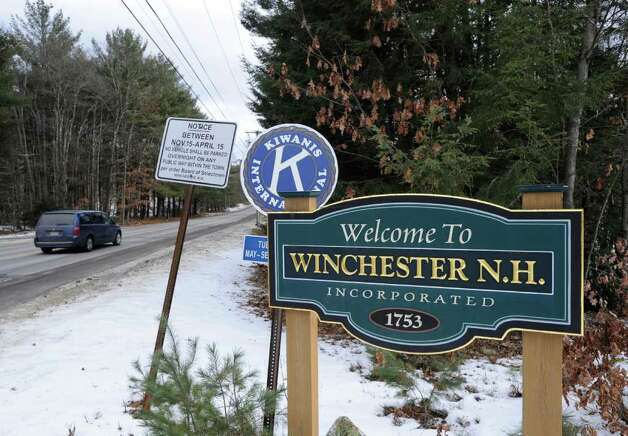 "The ""Welcome to Winchester N.H."" sign, Wednesday, Jan. 25, 2012. The Town of Winchester encompasses Ashuelot, where murder victim Mary Harrison, a Greenwich native, lived. Photo: Bob Luckey / Greenwich Time"