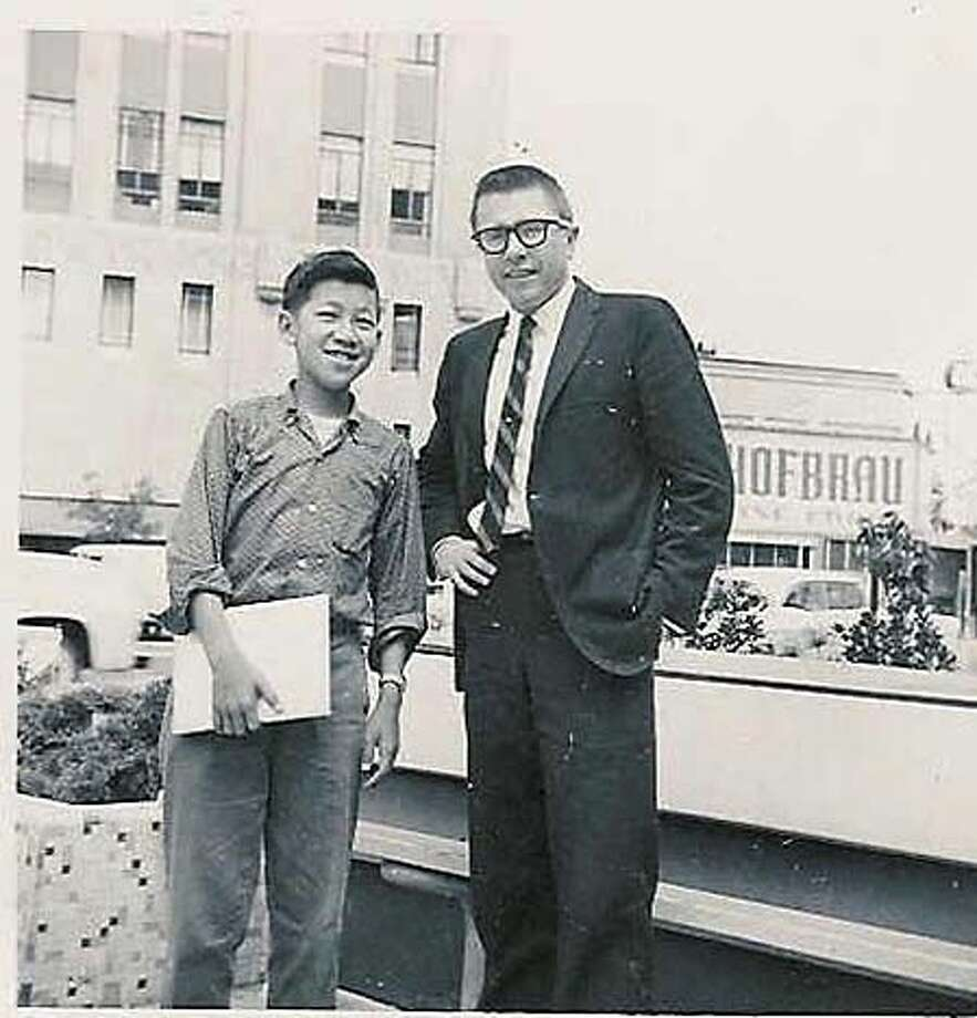 Ben Fong-Torres at 15 with radio announcer Gary Owens in 1960. Photo: Handout