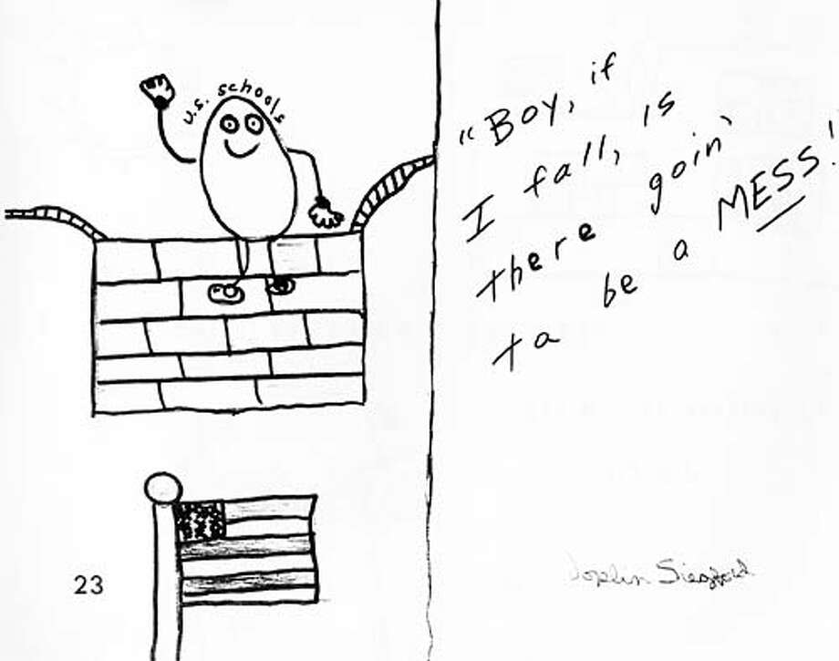An editorial cartoon created in 1987 by a Solano County elementary school student depicts what underfunded schools will do to our state and nation.