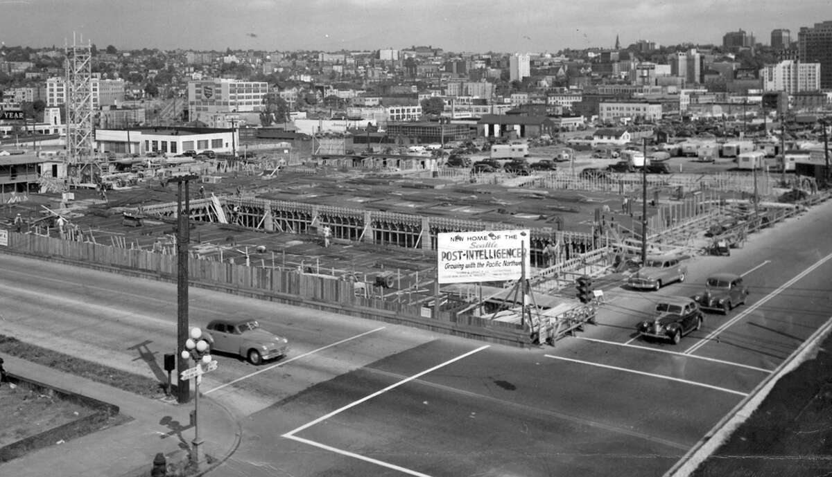 Construction of the Sixth and Wall building on May 13, 1947.