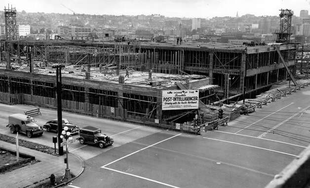 Construction of the Sixth and Wall building, Aug. 4, 1947. Photo: Seattlepi.com File