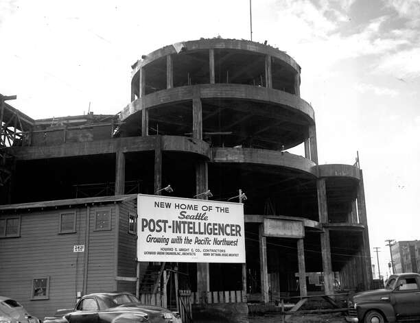 Construction of the Sixth and Wall building, Oct. 16, 1947. Photo: Seattlepi.com File