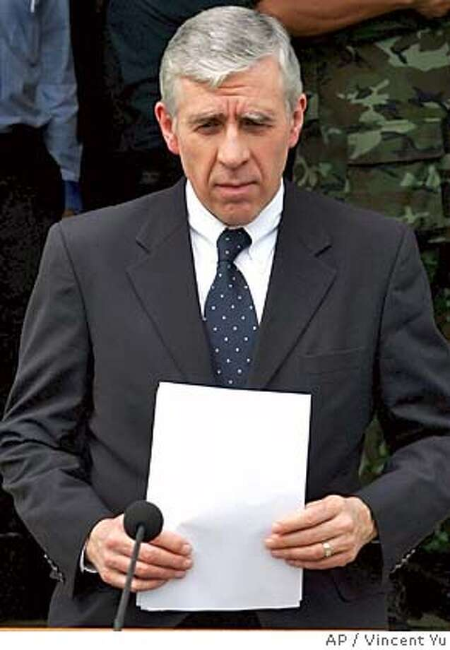 British Foreign Minister Jack Straw holds his speech before a press conference at a relief center at tsunami-affected Phuket island, Thailand Friday, Jan. 7, 2005. Straw indicated Friday that the number of Britons who died in the Asian tsunami could double from his government's earlier estimate. Thousands of foreign tourists were among those killed when massive quake-spawned waves struck beach resorts in southern Thailand, one of 11 countries hit. At least 144,702 people are reported dead around southern Asia and as far away as Somalia on Africa's eastern coast.(AP Photo/Vincent Yu) Photo: VINCENT YU