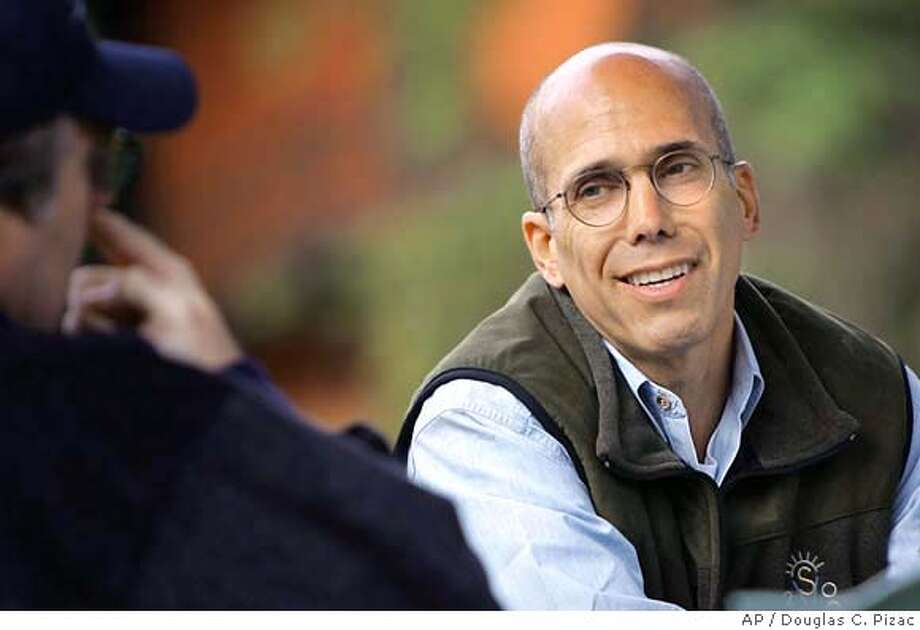 DreamWorks SKG's Jeffrey Katzenberg chats with Microsoft co-founder Paul Allen at the Allen & Co.'s annual Friday, July 9, 2004, in Sun Valley, Idaho. (AP Photo/Douglas C. Pizac) Photo: DOUGLAS C. PIZAC