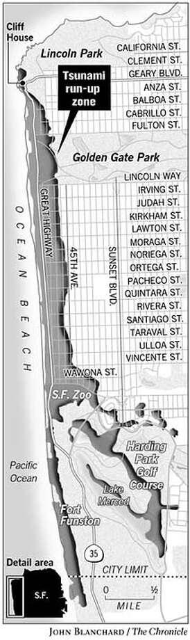 Tsunami Run-up Zone. Chronicle graphic by John Blanchard Photo: Joe Shoulak