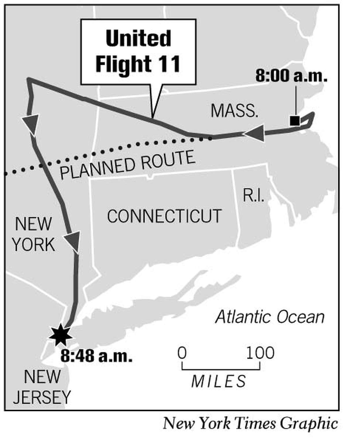 United Flight 11. New York Times Graphic