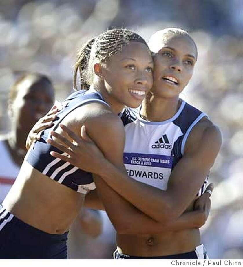 Allyson Felix (1st place) and Torri Edwards (3rd place) embrace at the end of the Women's 200m run - the final event in the trials. Day 8 of competition in the U.S. Track and Field Trials in Sacramento on 7/18/04. PAUL CHINN/The Chronicle Photo: PAUL CHINN