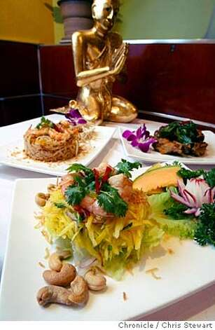 Event on 7/16/04 in San Francisco  Marnee Thai Restaurant, 1243 Ninth Avenue, San Francisco. Chaiwatt Siriyarn, owner, holds Pad Thai, his signature dish. Chris Stewart / The Chronicle Photo: Chris Stewart