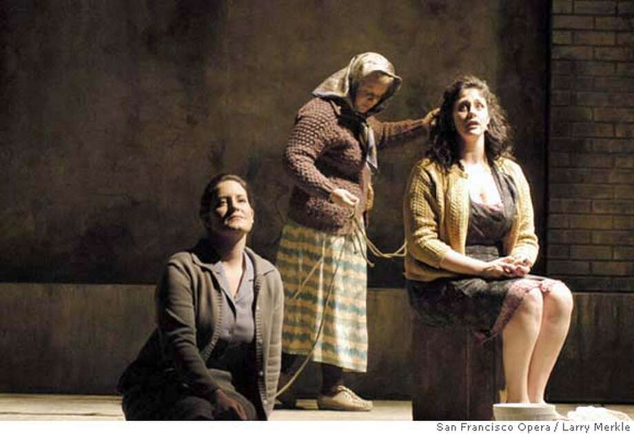 (L or R) Elza van den Heever (Female Chorus),� Amy Wallace-Styles (Bianca) and Kate Mangiameli (Lucretia).
