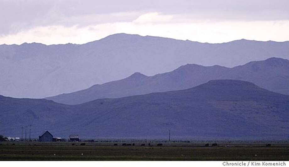 Looking at the south rim of the valley between Sattley and Loyalton, a barn stands out against the mountains.  Travel piece by Michael Dougan on Sierra Valley, billed as the world's largest alpine valley. We visit the valley as well as the towns of Graeagle, Portola and Loyalton Photo by Kim Komenich in Portola. Photo: Kim Komenich