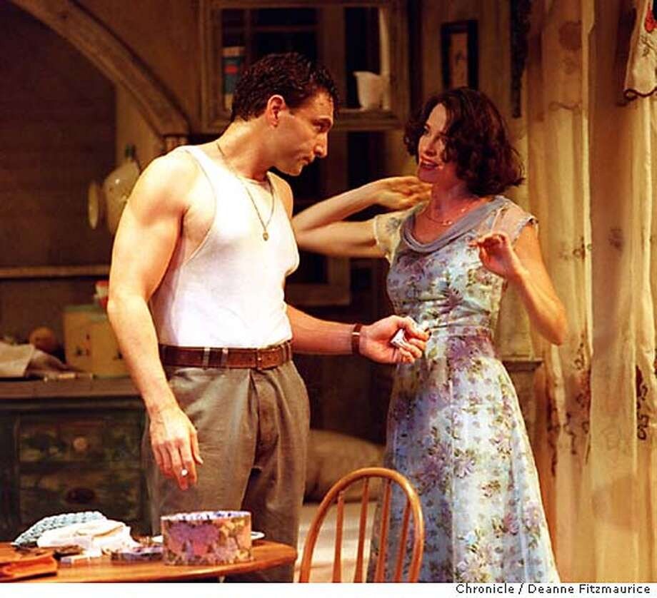 """STREETCAR/C/22OCT97/DD/DF - ACT presents """"A Streetcar Named Desire"""" at the Geary Theater. Marco Barricelli as Stanley offers a cigarette to Blanche played by Sheila Kelley. CHRONICLE PHOTO BY DEANNE FITZMAURICE CAT Photo: DEANNE FITZMAURICE"""