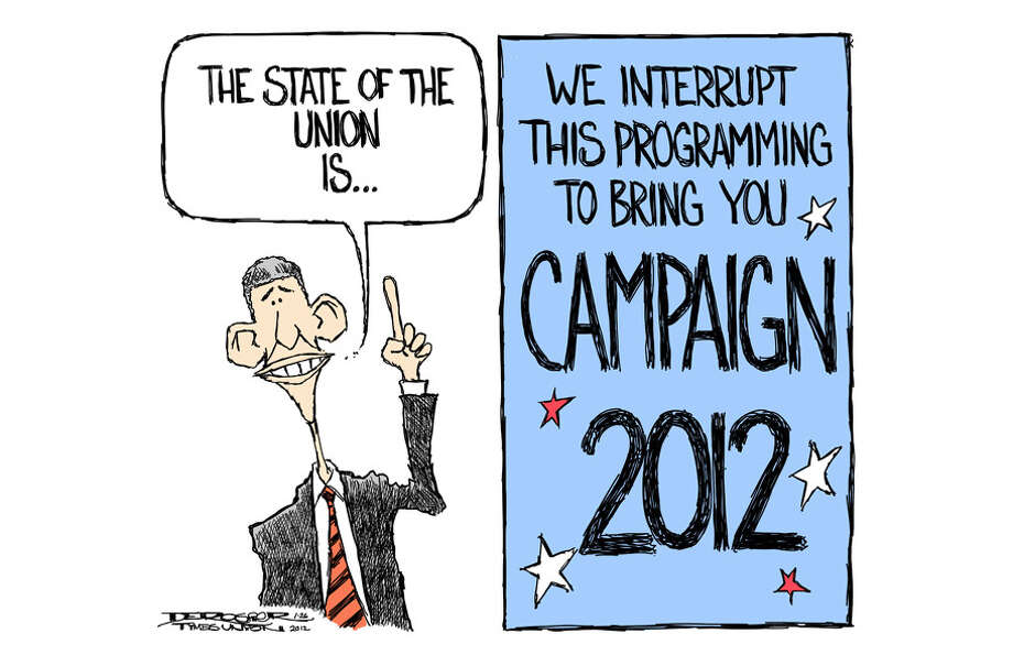 Obama State of the Union for 2012 interrupted by Campaign 2012. Photo: John De Rosier
