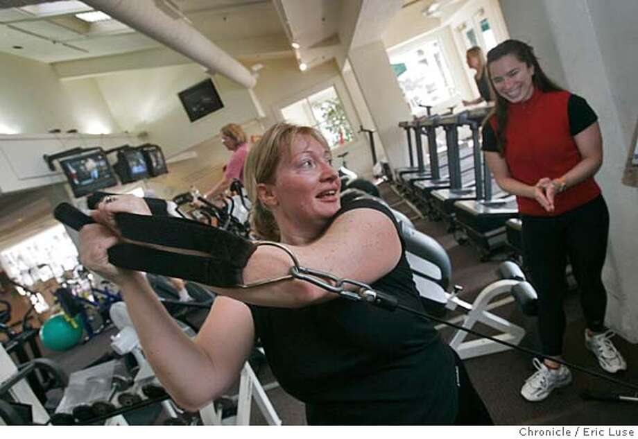 gym07145_el.jpg  Keiser Core Trainer Annie Ellis works with client Andrea Brandeis, Milll Valley, at the Mill Valley Health Club in Mill Valley. Gyms and health clubs are seeing a spike in visits as members pledge weight loss as their new year's resolution. Gyms overall have been recovering from weakness during the economic slump, but these days, the market is much more fragmented with clubs specializing in certain types of classes like pilates and spin. We get a picture of people working out at the Mill Valley Health Club in Mill Valley.  Event on 1/6/05 in Mill Valley. Eric Luse / The Chronicle MANDATORY CREDIT FOR PHOTOG AND SF CHRONICLE/ -MAGS OUT Photo: Eric Luse