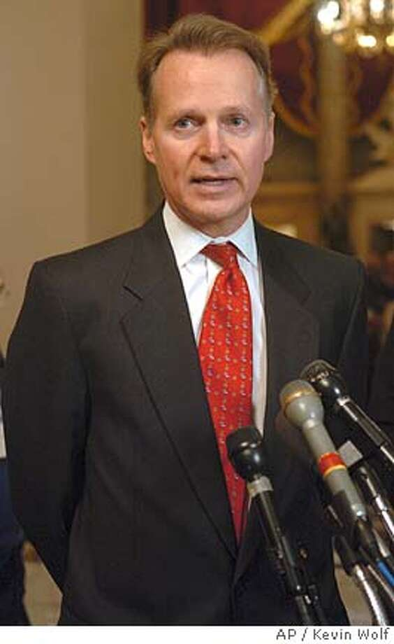 House Rules Chairman David Dreier, R-Calif., speaks to the press after a Republican conference at the Capitol on Monday, Jan. 3, 2005. (AP Photo/Kevin Wolf) Photo: KEVIN WOLF