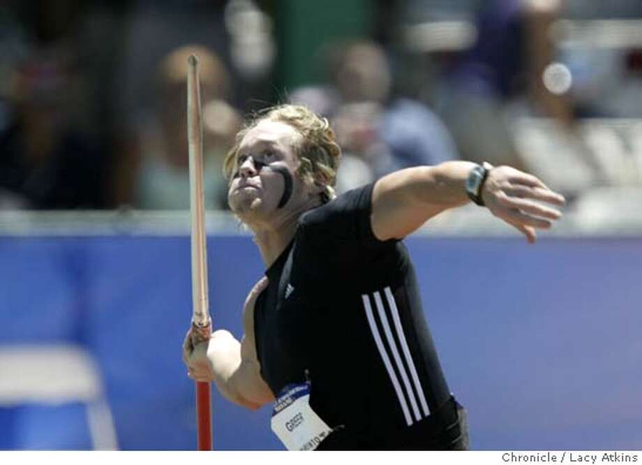 Breaux Greer on his first throw of 82.39m beat the Olympic Trials record of Javelin Throw as well as winning the Men's Javelin Throw Final in the U.S. Olympic Team Trials in Sacramento, July 17, 2004. LACY ATKINS / The Chronicle Photo: LACY ATKINS