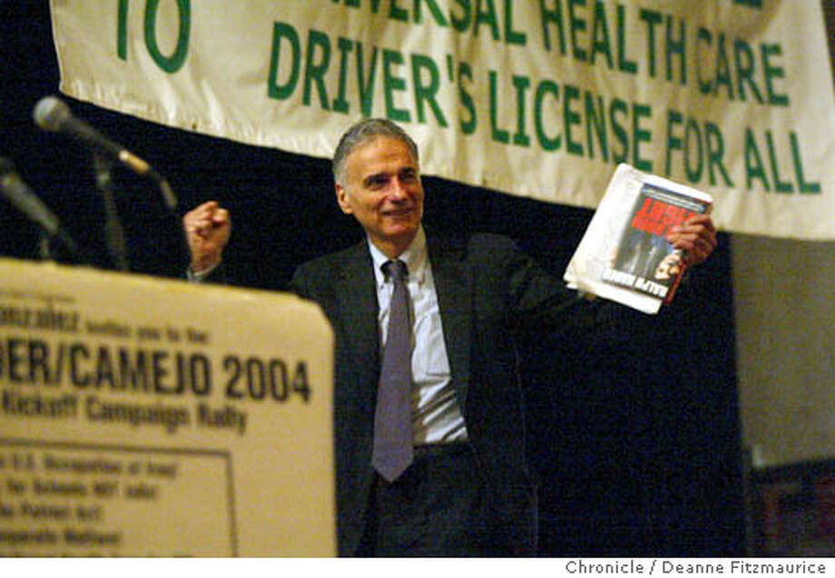 nader_001_df  Ralph Nader, independent candidate for President, holds his campaign opening rally at Mission High School. This was shot in San Francisco.  Deanne Fitzmaurice / The Chronicle Photo: Deanne Fitzmaurice