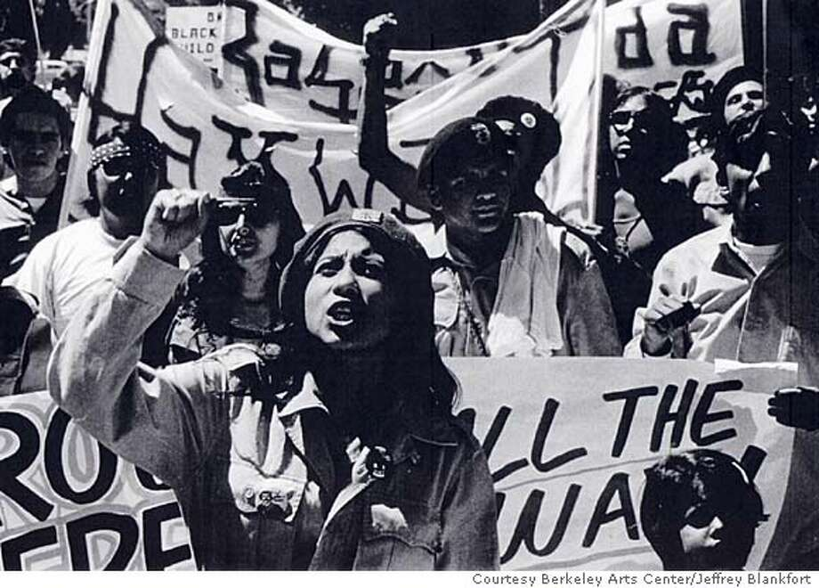 "EAST BAY LIFE  ""WHOLE WORLD'S WATCHING"" EXHIBIT IN HAYWARD, CA. LA MARCHA DE LA RECONQUISTA, SACRAMENTO, CA MAY 1971, PHOTO BY JEFFREY BLANKFORT COURTESY OF THE BERKELEY ART CENTER. HAYWARD AREA HISTORICAL SOCIETY JUNE 24- AUG 7, 2004"