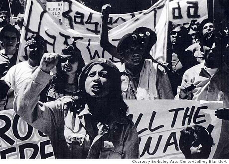 "EAST BAY LIFE  ""WHOLE WORLD'S WATCHING"" EXHIBIT IN HAYWARD, CA. LA MARCHA DE LA RECONQUISTA, SACRAMENTO, CA MAY 1971, PHOTO BY JEFFREY BLANKFORT COURTESY OF THE BERKELEY ART CENTER. HAYWARD AREA HISTORICAL SOCIETY JUNE 24- AUG 7, 2004"