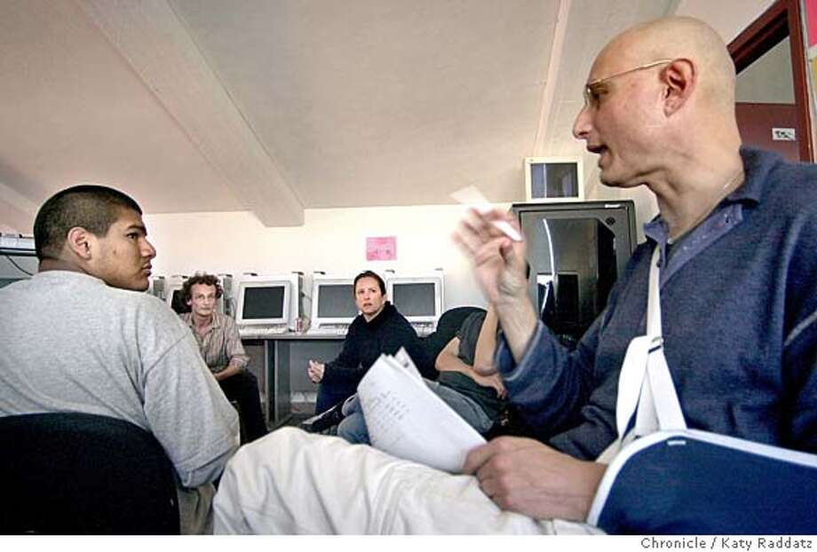 """Frederick Marx, creator of """"Hoop Dreams"""" (R) is in San Francisco working with public school students on their own documentaries. They're at the San Francisco Art Institute Center for Digital Media. Man on far left is Jose Mejia; he and Heather Kissinger (second from left) have just shown their film called """"Poetry"""", and Marx is leading the discussion. Katy Raddatz / The Chronicle Photo: Katy Raddatz"""