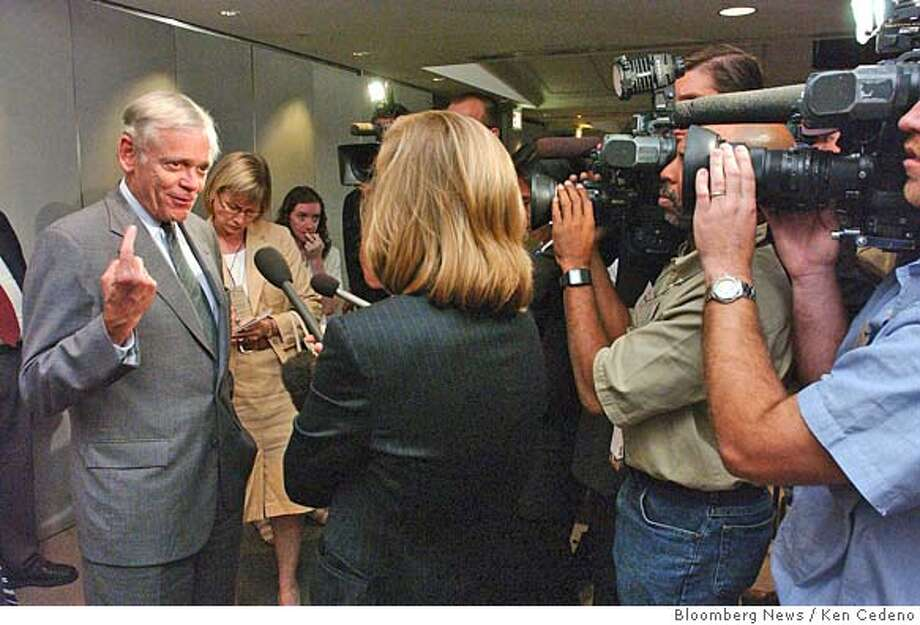 William H. Donaldson, chairman, Securities and Exchange Commission speaks to reporters after an open meeting of the SEC about mutual fund rules in Washington, DC August 18, 2004. The U.S. Securities and Exchange Commission ordered mutual funds to stop paying higher commissions to brokers who promote the companies' funds and required portfolio managers to reveal investments in funds they supervise. Photographer: Ken Cedeno/ Bloomberg News. Photo: Ken Cedeno