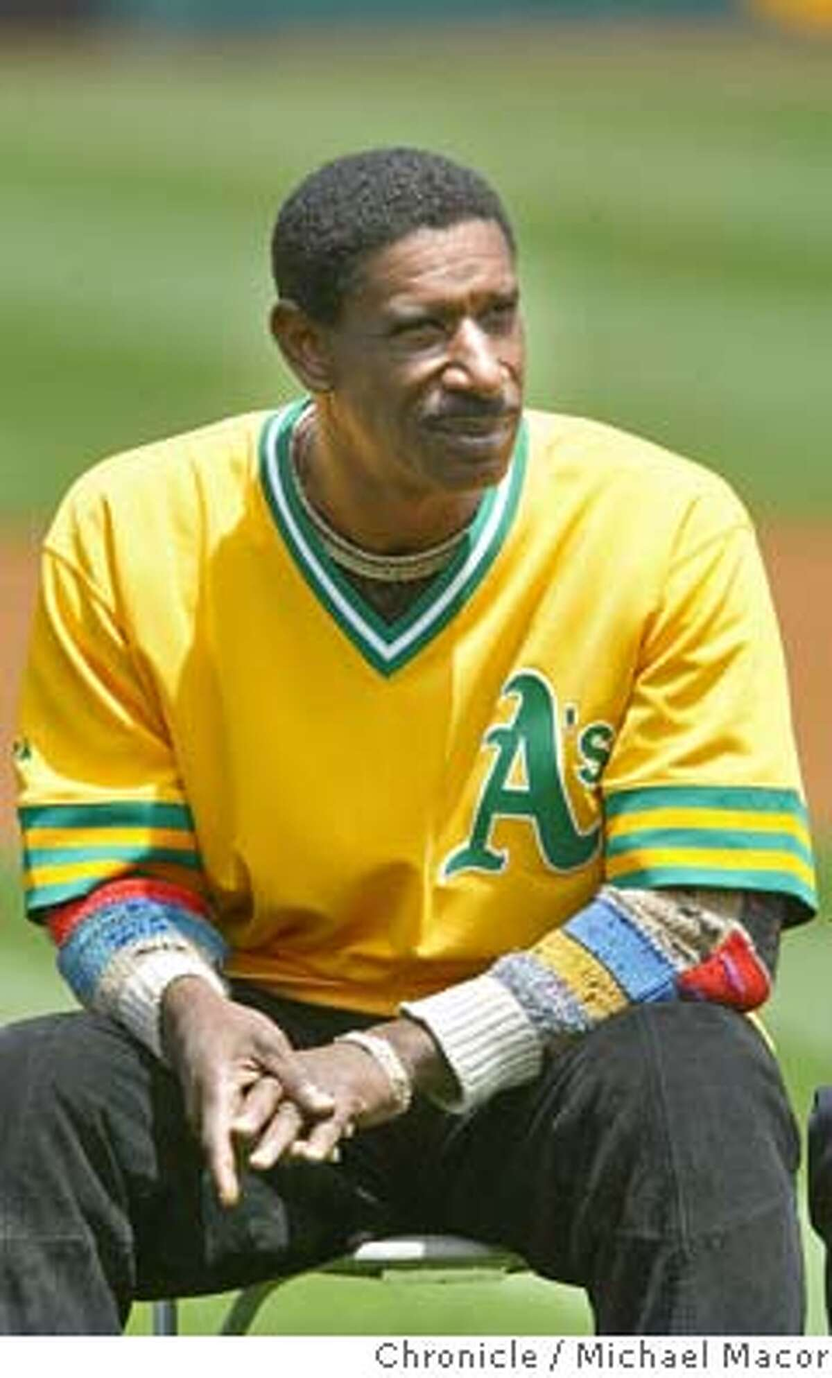 Claudell Washington on hand for the retiring of Reggie Jackson's number. The Oakland Athletics vs. Kansas City Royals. event on 5/22/04 in Oakland Michael Macor / San Francisco Chronicle