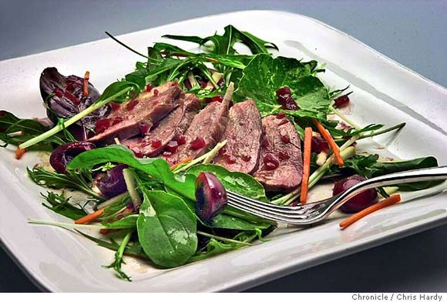 duck breast salad with fresh cherry vinaigrette, for  wine pairing recipe to go with Washington state Merlots inSan Francisco  San Francisco Chronicle/Chris Hardy Photo: Chris Hardy