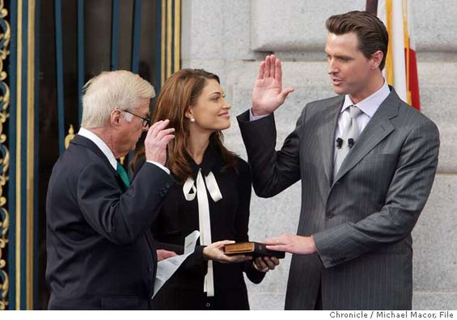 newsome164_mac.jpg Gavin Newsom takes the oath of Office of Mayor from his father Judge William Newsom as his wife Kimberly Guilfoyle Newsom holds the bible. The Inauguration of Gavin Newsom the next Mayor of San Francisco.  Michael Macor/ The Chronicle on 1/8/04 San Francisco Mayor Gavin Newsom walks into his new office at City Hall for the first time after being sworn in. Gavin Newsom takes the oath of office from his father, retired state Judge William Newsom. The new mayor's wife, Kimberly Guilfoyle Newsom, holds the Bible for him. Gavin Newsom takes the oath of office from his father, retired state Judge William Newsom. The new mayor's wife, Kimberly Guilfoyle Newsom, holds the Bible for him. MANDATORY CREDIT FOR PHOTOG AND SF CHRONICLE/ -MAGS OUT Photo: Michael Macor