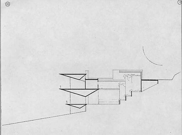 The architect's sectional drawing shows the dramatic wedge-shaped forms of the home. Photo courtesy of Harwell Hamilton Harris