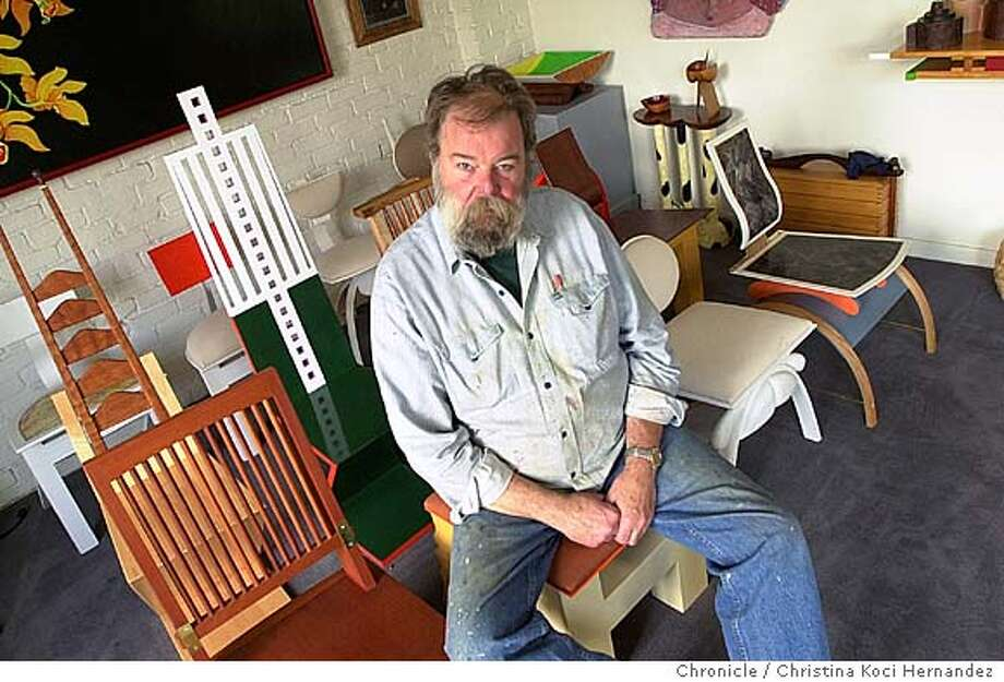 070804_eblbennett_kocihernandez CHRISTINA KOCI HERNANDEZ/CHRONICLE Feature story on high-end furniture maker Garry Knox Bennett. His work has appeared at the Oakland Musueum. Currently, he is working on a table at his Oakland shop. Photo: CHRISTINA KOCI HERNANDEZ