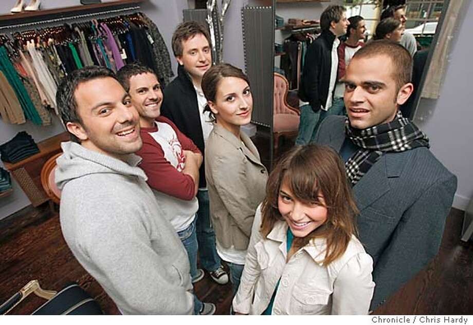 """122804_style02_ch_013.jpg  A new boutique called """"DYLAN.'' With partners Lawrence Vavra, Todd Palmerton, Nate Valentine, Samantha Traina, Stephanie Unger, and Demetrius Chapin-Rienzo. in San Francisco,CA on12/28/04  San Francisco Chronicle/Chris Hardy MANDATORY CREDIT FOR PHOTOG AND SF CHRONICLE/ -MAGS OUT Photo: Chris Hardy"""