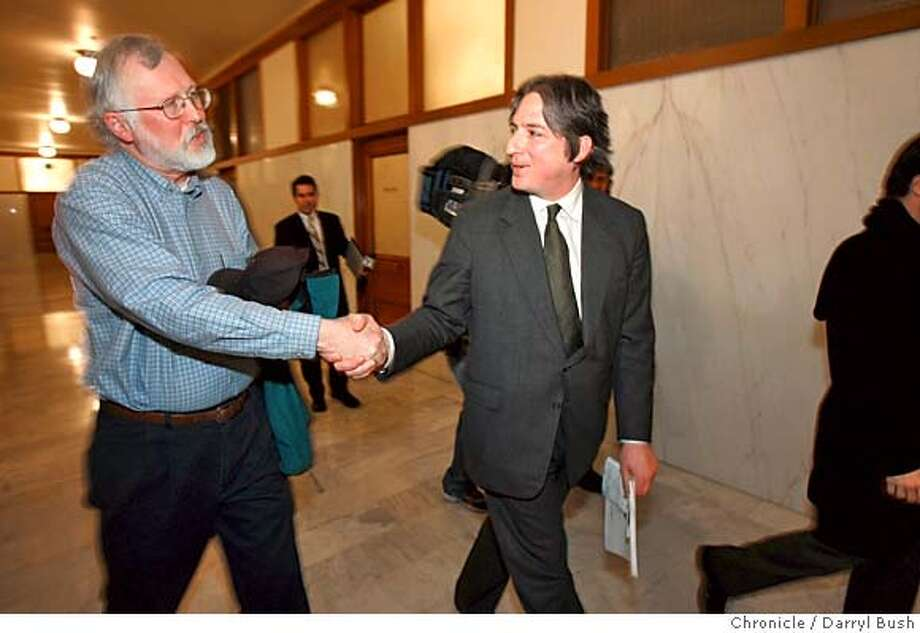 sfsupes05_027_db.jpg  Supervisor Matt Gonzalez shakes hands with Barry Hermanson, who is a Green party supporter, as Gonzalez walks on his way to presiding as president of the Board of Supervisors for the final time at City Hall. Gonzalez is stepping away from public office. 1/4/05 in San Francisco Darryl Bush/The Chronicle MANDATORY CREDIT FOR PHOTOG AND SF CHRONICLE/ -MAGS OUT Photo: Darryl Bush