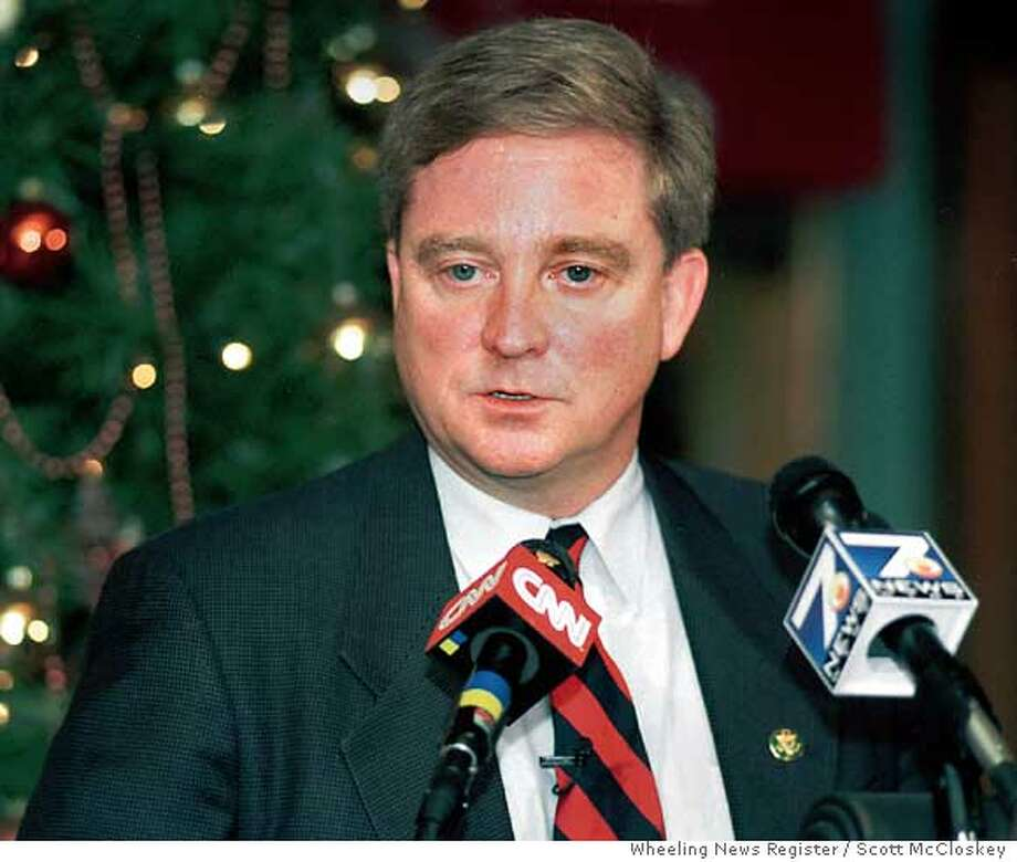 Rep. Bob Ney, R-Ohio, speaks at a press conference in downtown Wheeling, W.Va., Wednesday, Dec.16, 1998. Ney and fellow Ohio Rep. Deborah Pryce Wednesday joined a growing number of House Republicans intending to vote to impeach President Clinton. Ney had been a high-profile holdout who had been willing to discuss his indecision on national television. His genuine indecision led to a deluge of attention, including 8,500 e-mail messages in just one day and a stream of threats from people on both sides of the debate vowing to work for his defeat if his eventual position disagreed with theirs. (AP Photo/The Wheeling News Register, Scott McCloskey) Ran on: 01-04-2005  Kevin Shelley Ran on: 01-04-2005  Kevin Shelley Photo: SCOTT MCCLOSKEY