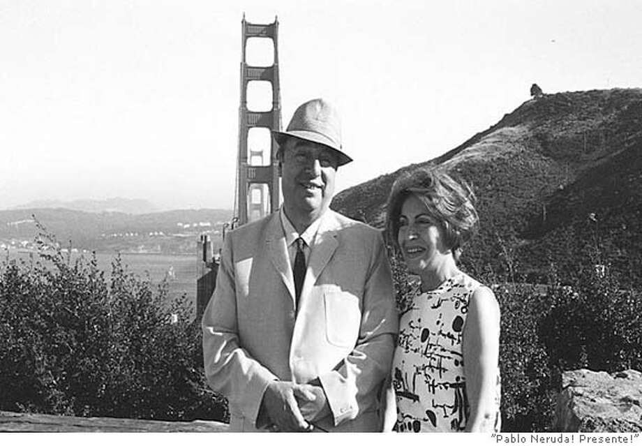 NERUDA12  A scene in front of the GG Bridge in the movie Pablo Neruda Presente! Ran on: 07-12-2004  Pablo Neruda and an unidentified companion in front of the Golden Gate Bridge in an undated photograph from the documentary &quo;Pablo Neruda! Presente!''