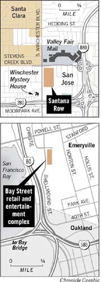 Santana Row in San Jose and Bay Street in Emeryville. Chronicle Graphic