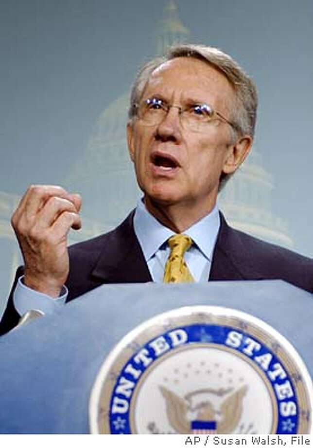 "** FILE ** Sen. Harry Reid, D-Nev., speaks on Capitol Hill in this July 9, 2002 file photo. Opening a week that promised to be contentious and then some, Sen. Mitch McConnell, R-Ky., said recent Democratic criticism of the Senate's Republican leadership was ""callow, petulant"" and ""quite unsenatorial."" Minutes later Reid _ like McConnell his party's No. 2 Senate leader _ unexpectedly launched a floor speech that he said would last all afternoon. More than three hours later, the 63-year-old Reid was still on his feet before a nearly empty chamber discussing the economy, some of President Bush's controversial judicial nominations and the way the GOP majority has been running the Senate. (AP Photo/Susan Walsh, File) Photo caption quiz16_PH11068336000AP** FILE ** Sen. Harry Reid, D-Nev., speaks on Capitol Hill in this July 9, 2002 file photo. Opening a week that promised to be contentious and then some, Sen. Mitch McConnell, R-Ky., said recent Democratic criticism of the Senate's Republican leadership was ""callow, petulant"" and ""quite unsenatorial."" Minutes later Reid _ like McConnell his party's No. 2 Senate leader _ unexpectedly launched a floor speech that he said would last all afternoon. More than three hours later, the 63-year-old Reid was still on his feet before a nearly empty chamber discussing the economy, some of President Bush's controversial judicial nominations and the way the GOP majority has been running the Senate. (AP Photo-Susan Walsh, File)__JULY 9, 2002 FILE PHOTO CAT JULY 9, 2002 FILE PHOTO Photo: SUSAN WALSH"