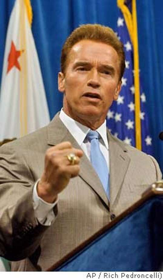 Gov. Arnold Schwarzenegger discusses the state budget during a news conference in Sacramento, Calif., Tuesday, June 15, 2004. Schwarzenegger said he believes that the state budget will be passed on time despite the Legislature's failure to have it on his desk by the June 15 deadline, and that negotiations with Legislative leaders has produced good progress. (AP Photo/Rich Pedroncelli) Ran on: 07-03-2004  Gov. Arnold Schwarze- negger estimated the income to the state could be as high as $300 million. Ran on: 07-03-2004  Gov. Arnold Schwarze- negger estimated the income to the state could be as high as $300 million. Ran on: 07-04-2004 Photo: RICH PEDRONCELLI