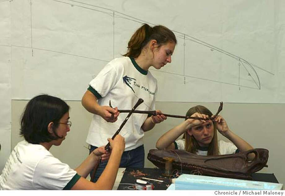 From left, Daniela Buchman (Jr at Gunn High), Marianne Kvitko (Jr at Gunn High), and Erica McCay (Sr at Gunn High) assemble the bone replica of a Pterosaur.  Palo Alto area high school students interested in robotics are part of a team at Stanford that is building a replica of a Pterosaur, a flying dinosaur based on fossil evidence and aeronautical engineering. The project is the basis for an upcoming National Geographic special.  Photo by Michael Maloney / San Francisco Chronicle Photo: Michael Maloney