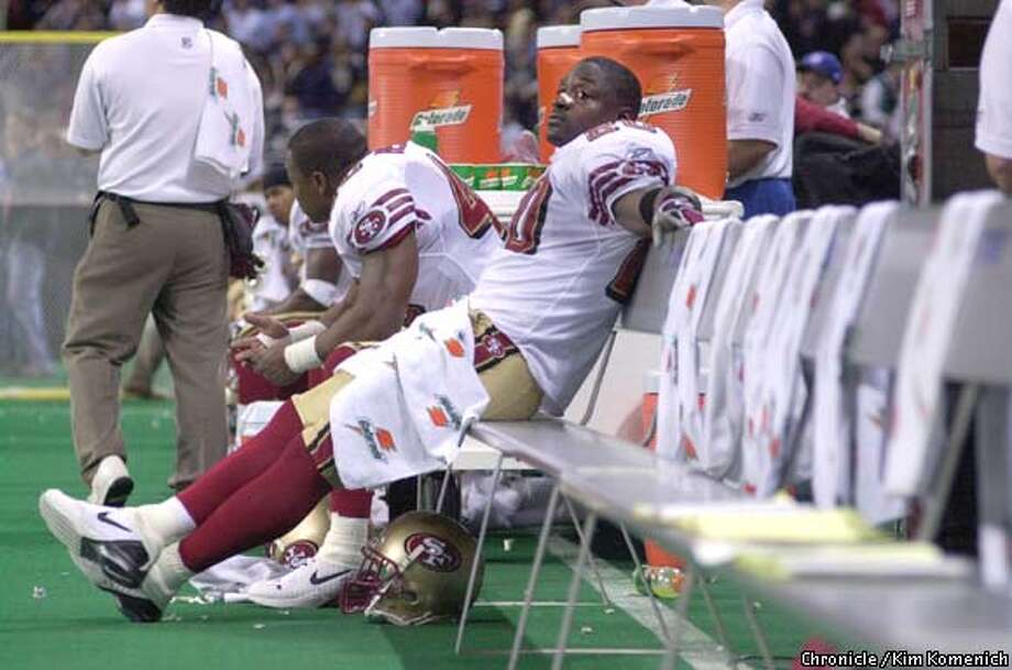 San Francisco 49ers at St. Louis Rams in a Monday night TV game. Garrison Hearst dejected after 2 fumbles. empty bench.  SAN FRANCISCO CHRONICLE PHOTO BY KIM KOMENICH Photo: KIM KOMENICH