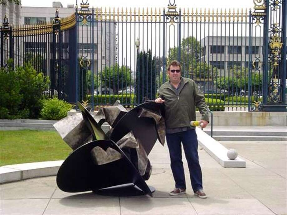 Jud Bergeron with the heart he created for Hearts in San Francisco public art project. 2004 Ran on: 07-11-2004  Jud Bergeron at the War Memorial Opera House with his heart, symbol of our precarious political situation. Photo: Handout