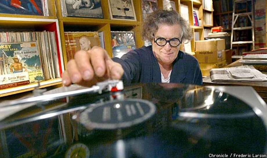 "Vinyl collector Mickey McGowan of San Rafael collects ""esoteric instrumental"" recordings such as demons speaking through people and ""Sounds of the Boudoir,"" in which a woman can be heard brushing her teeth. Chronicle photo by Frederic Larson"