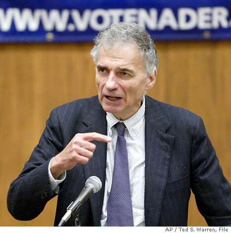 Independent presidential candidate Ralph Nader speaks Sunday, June 27, 2004 at a nominating convention on the University of Washington Campus in Seattle. Nader said he's confident he'll gather the 1,000 signatures he needs to get on the Washington state ballot in November. (AP Photo/Ted S. Warren) Photo: TED S. WARREN