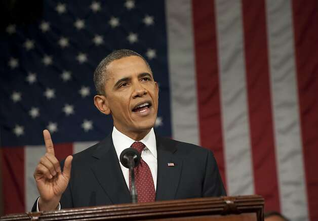 WASHINGTON, DC - JANUARY 24:  U.S. President Barack Obama delivers his State of the Union address before a joint session of Congress on Capitol Hill January 24, 2012 in Washington, DC. The president made a populist pitch to voters for economic fairness, saying the federal government should more do to balance the benefits of a capitalist society.  (Photo by Saul Loeb-Pool/Getty Images) Photo: Pool, Getty Images