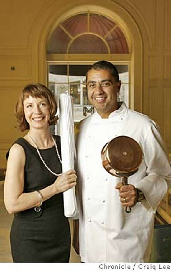 Portrait of Michael Mina and Barbara Barry in the site of the new restaurant in the old Compass Rose location in the St. Francis Hotel in San Francisco. Michael Mina is the chef/owner, Barbara Barry is the designer.  Event on 6/25/04 in San Francisco. Craig Lee / The Chronicle Photo: Craig Lee