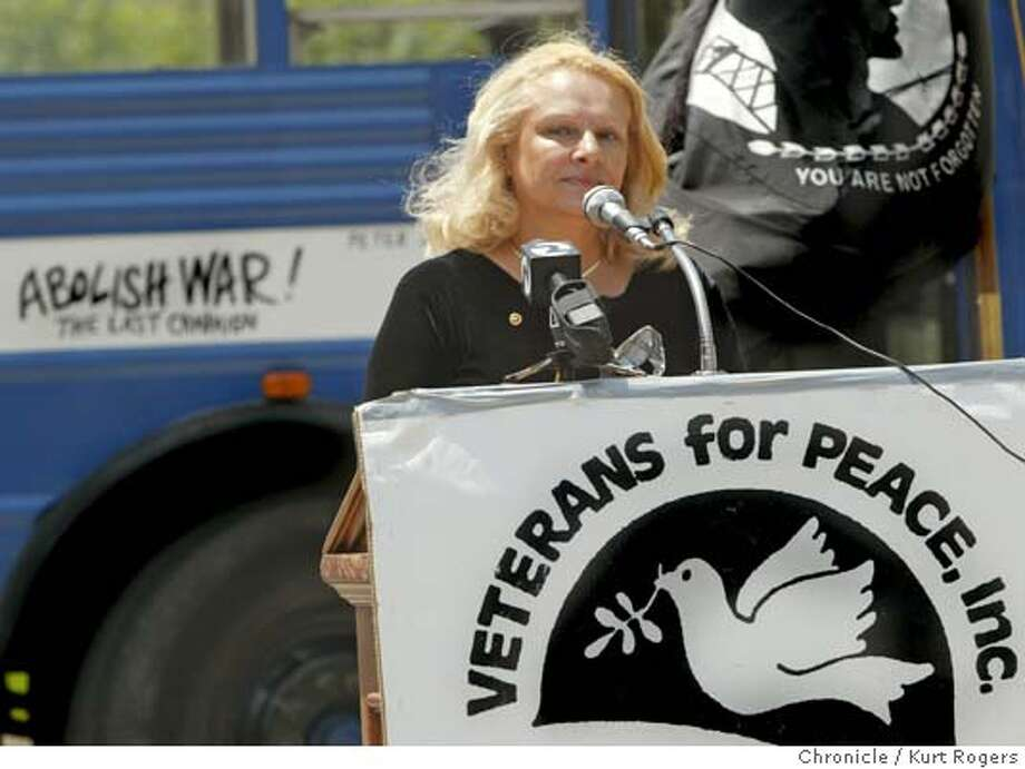 Nadia McCaffrey whose son was killed in Iraq, spoke at the launch of the Veterans for Peace national Stop The War Bus Tour in front of the War Memorial Building in San Francisco. 7/9/04 in San Francisco,CA.  Kurt Rogers/The Chronicle Photo: Kurt Rogers