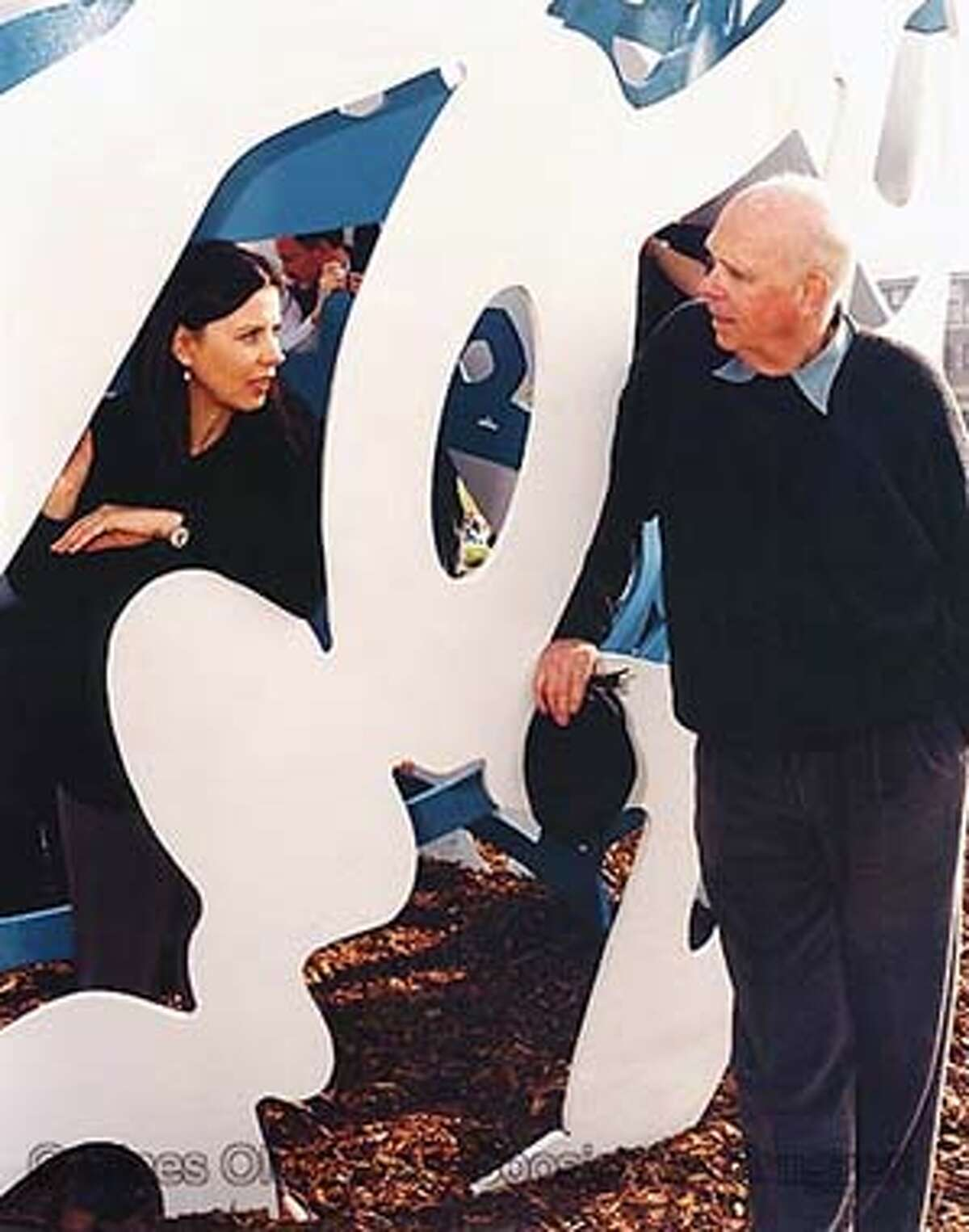 Coosje van Bruggen and Claes Oldenburg at the inauguration of Bottle of Notes,1944, in Middlesbrough , England. HANDOUT PHOTO/Hazel Gall
